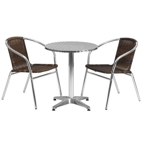 Emrys Round Indoor Outdoor 3 Piece Bar Height Dining Set by Ebern Designs