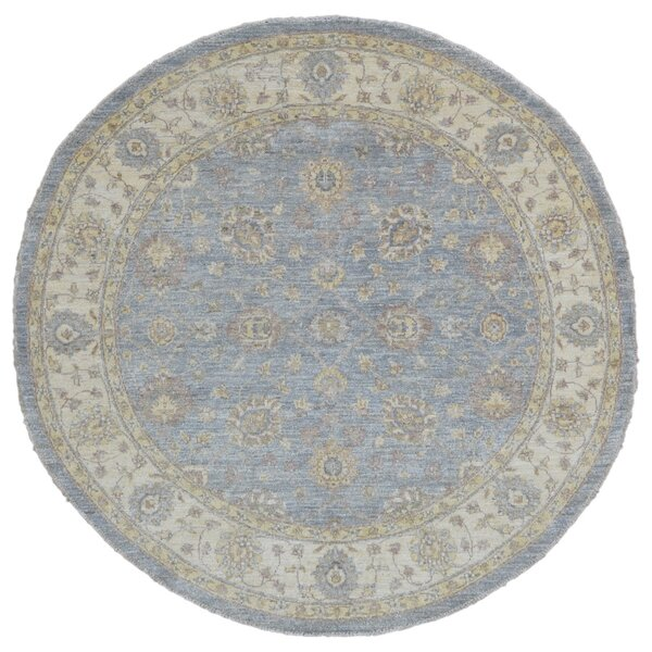 Baron Hand Woven Round Wool Blue/Beige Area Rug by Isabelline