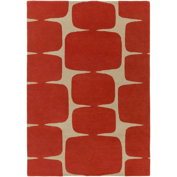 Baltwood Hand-Tufted Burnt Orange/Khaki Area Rug by Langley Street