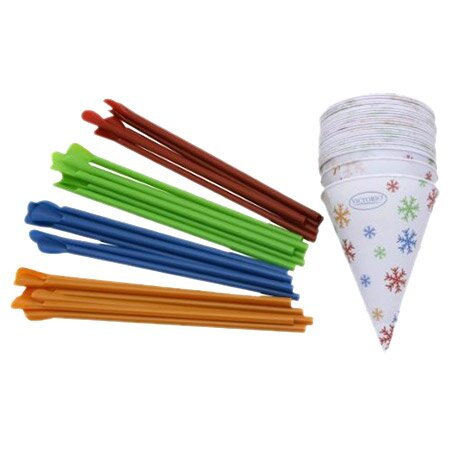 25 Pack 6 Oz. Snow Cone Cups & Spoon Straws by Vic