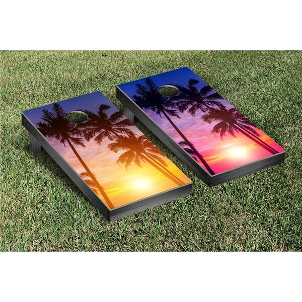 Palm Tree Beach Paradise Alternating Version Cornhole Game Set by Victory Tailgate