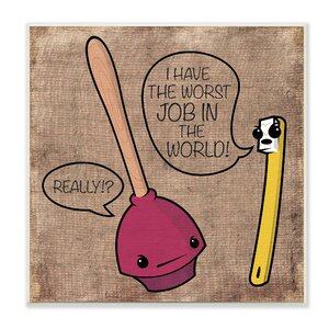 'Toothbrush and Plunger' Textual Art on Canvas by Stupell Industries