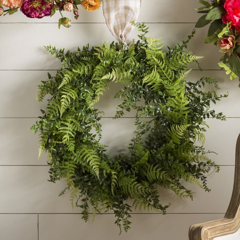 "Artificial 24"" Buckler Fern and Grass Wreath"