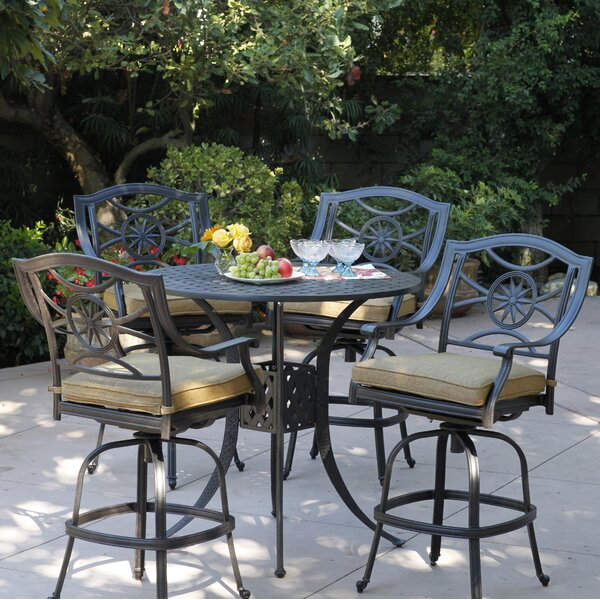 Thompsontown 5 Piece Bar Height Dining Set With Cushions By Alcott Hill by Alcott Hill Savings