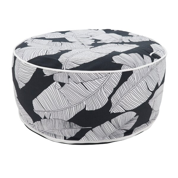Eugene Tropical Leaf Design Outdoor Ottoman by Bayou Breeze