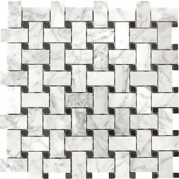 Carrara with Nero Marquina Basketweave Stone Mosaic Tile in White by Parvatile