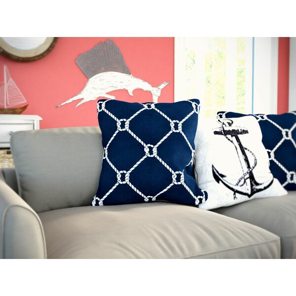 Bridgeport Ahoy Throw Pillow by Beachcrest Home