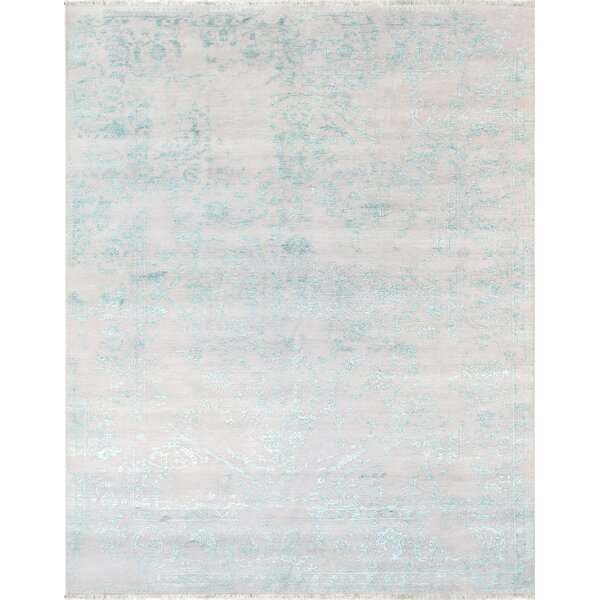 Transitional Hand-Knotted Silver/Blue Area Rug by Pasargad