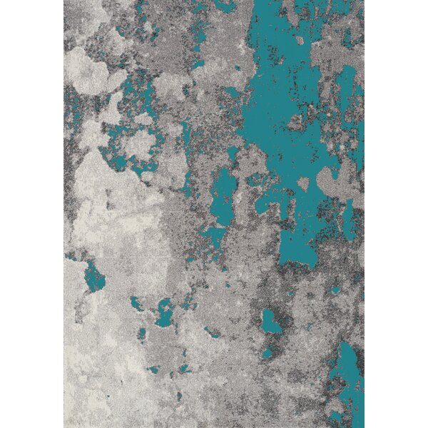 Atticus Abstract Expression Gray/Blue Area Rug by 17 Stories
