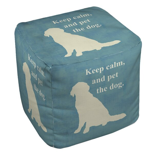 Keep Calm and Pet the Dog Pouf by Manual Woodworkers & Weavers