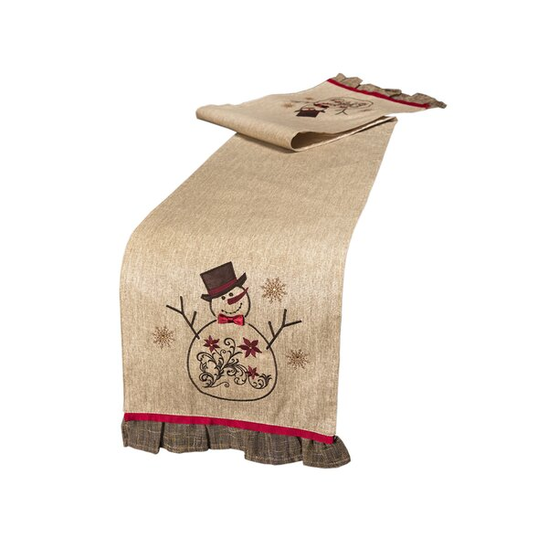 Snowman Embroidered Table Runner by Xia Home Fashions