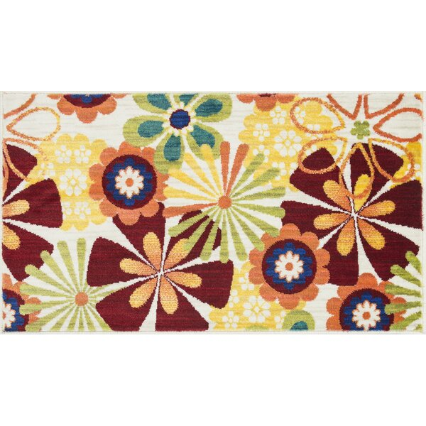 Nanava Red/Yellow Area Rug by Ebern Designs