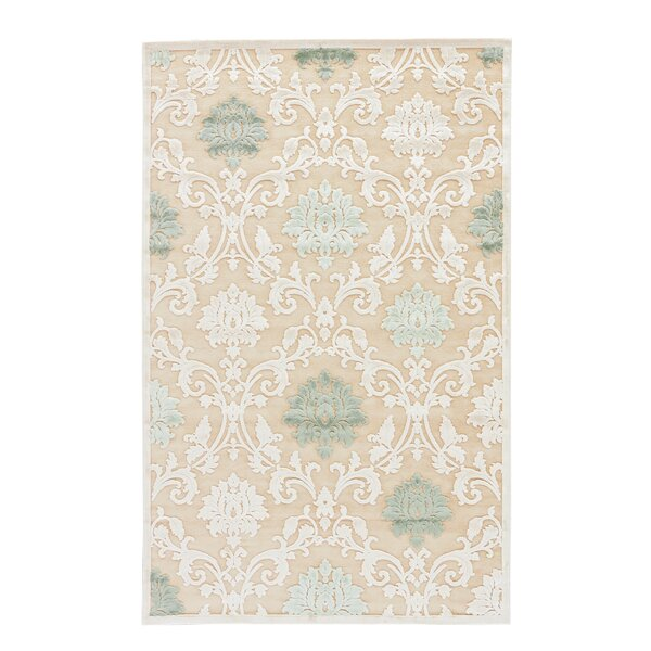Ada Tufted Chenille Cream/Light Green Area Rug by Charlton Home