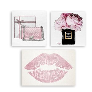 'Pink Chanel' 3 Piece Graphic Art Print Set on Canvas by Oliver Gal