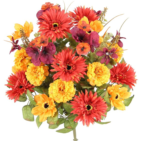 Artificial Blooming Gerbera Daisy, Scabiosa and Zinnia with Fillers Mixed Flowers Bush by Three Posts