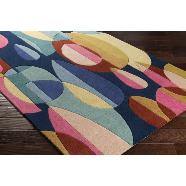 Dewald Hand-Tufted Blue/Beige Area Rug by Ebern Designs