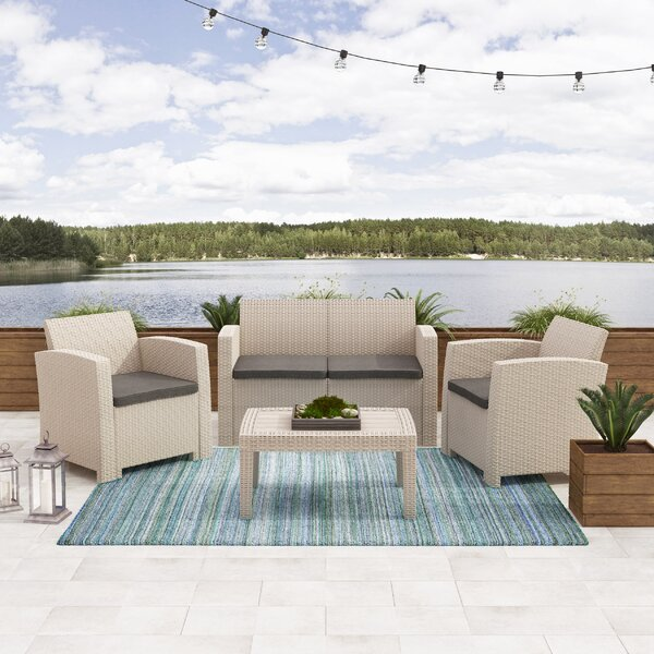 Faris 4 Piece Rattan Sofa Seating Group Set with Cushions by Ebern Designs