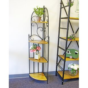 Vannie Metal/Wood Shelf Corner Bookcase