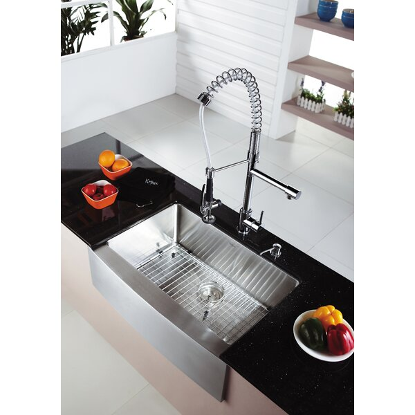 29.7 L x 20.75 W Farmhouse Kitchen Sink with Faucet and Soap Dispenser by Kraus