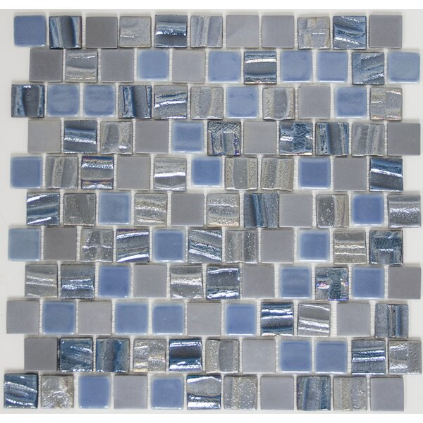 Signature Line 1 x 1 Glass Mosaic Tile in Blue/Gray by Susan Jablon