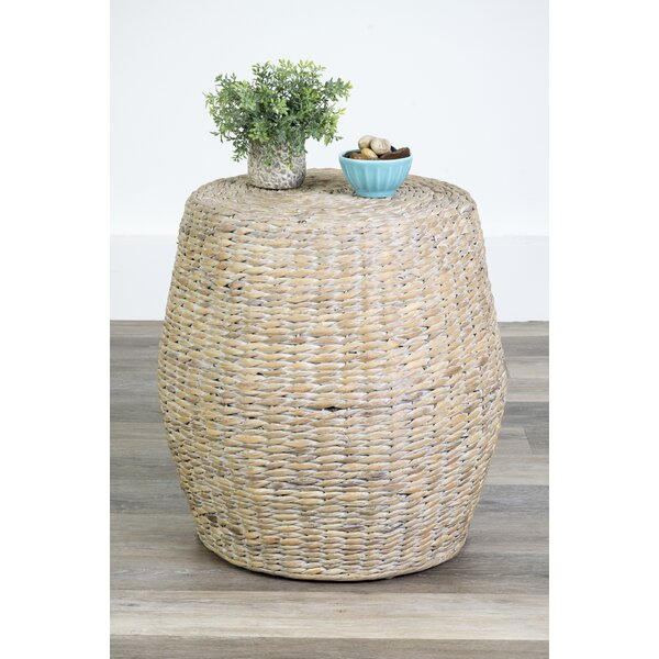 Alvaro Water Hyacinth Drum Table by Three Posts
