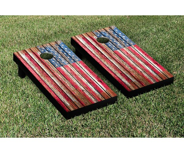 NCAA United States US Flag Distressed Wood Cornhole Game Set by Victory Tailgate