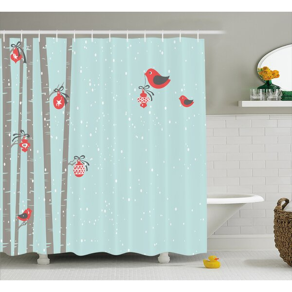 Christmas Cute Red Bird Winter Shower Curtain by The Holiday Aisle