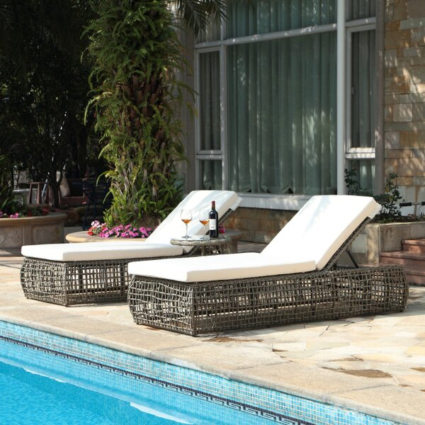 Carden Chaise Lounge with Cushions by Bungalow Rose Bungalow Rose