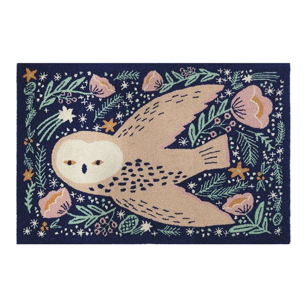 Rizzi Owl Hand-Hooked Wool Blue/Green Area Rug by Ebern Designs