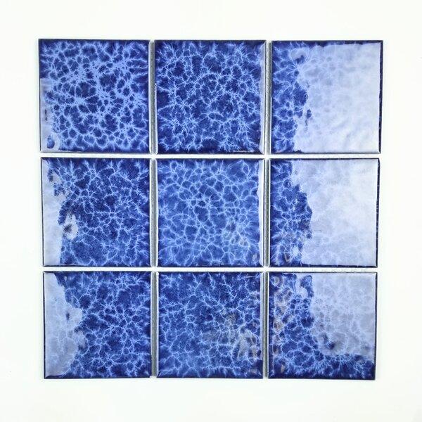 Monet 3.9 x 3.9 Porcelain Mosaic Tile in Glossy Ocean Blue by Abolos