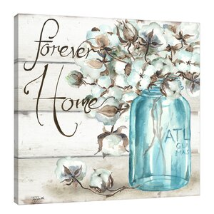 'Cotton Boll in Mason Jar Forever Home' by Tre Sorelle Studios Framed Painting Print by Jaxson Rea