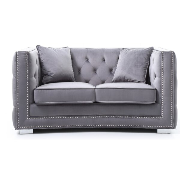 Sales-priced Smollin Chesterfield Loveseat by Everly Quinn by Everly Quinn