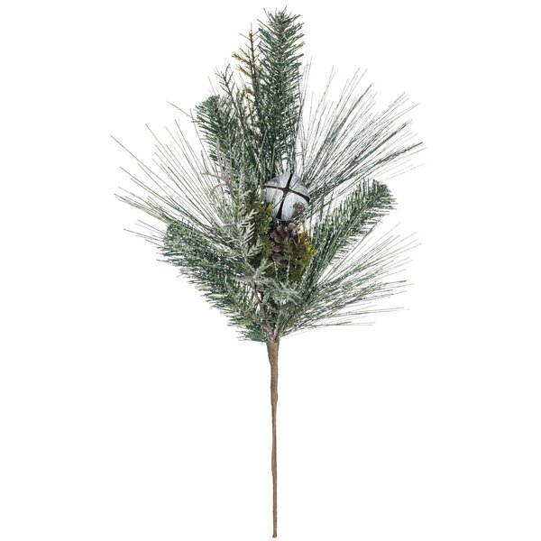 Flocked Pine with Bells Foliage Plant (Set of 2) by The Holiday Aisle