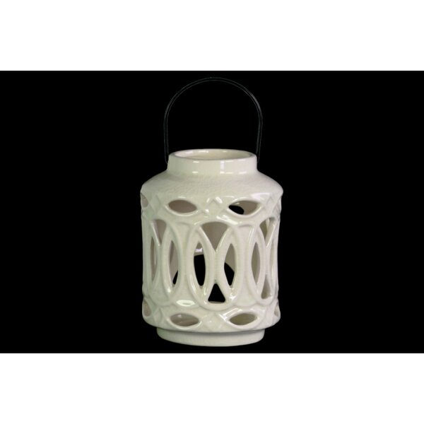 Cylindrical Ceramic Lantern with Metal Handle by Bungalow Rose