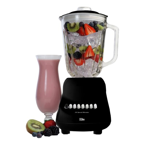 Americana 10 Speed Blender with 48 Oz. Glass Jar by Elite by Maxi-Matic