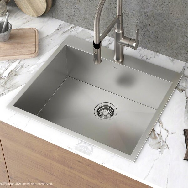 Pax™ Zero-Radius Topmount Series 25 x 22 Drop-In Kitchen Sink by Kraus