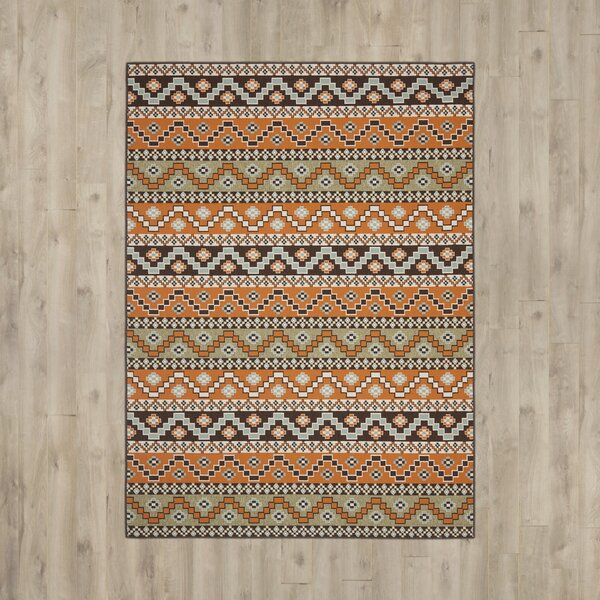 Zahr Orange/Brown Area Rug by Bungalow Rose