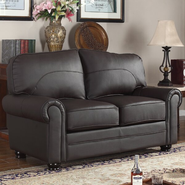 Upholstered Scroll Leather Loveseat by Madison Home USA