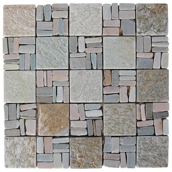 Landscape Wonder 2 x 2 Stone Mosaic Tile in Gray/Tan by Intrend Tile