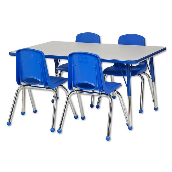 5 Piece Rectangular Activity Table & 16 Chair Set