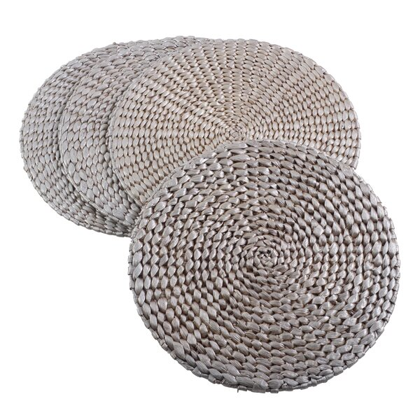 Hyacinth Natural Water Hand Woven Rattan Placemat (Set of 4) by Saro
