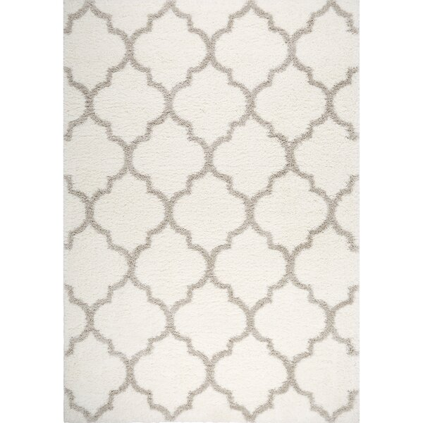 McSpadden Trellis Ivory Area Rug with Rug Pad by House of Hampton
