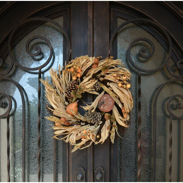 Artificial Pumpkin Wheat Berry with Corn Husk 24.5 Wreath by August Grove