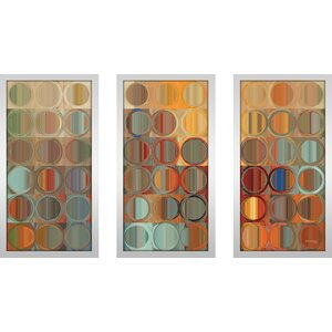 Circles and Squares 15 Max by Mark Lawrence 3 Piece Framed Graphic Art Set by Picture Perfect International