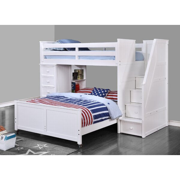 Raub Twin Over Full L-Shaped Bunk Bed with Bookcase and Drawers by Harriet Bee