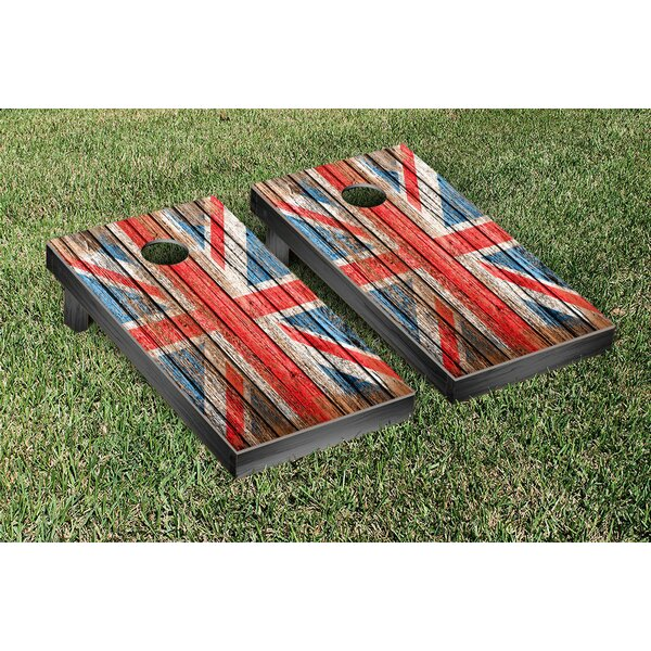 United Kingdom UK Distressed Wood Cornhole Game Set by Victory Tailgate