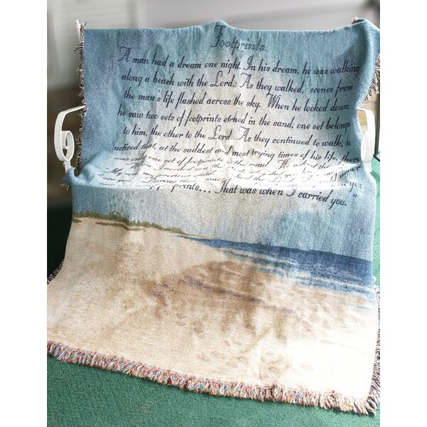 Footprints in the Sand Tapestry Cotton Throw by Manual Woodworkers & Weavers