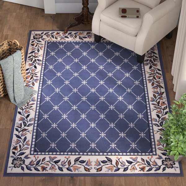 Modena Geometric Country Blue Area Rug by Charlton Home