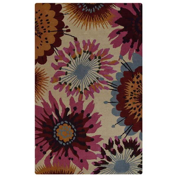 Raye Floral Hand-Tufted Wool Beige/Pink Area Rug by World Menagerie