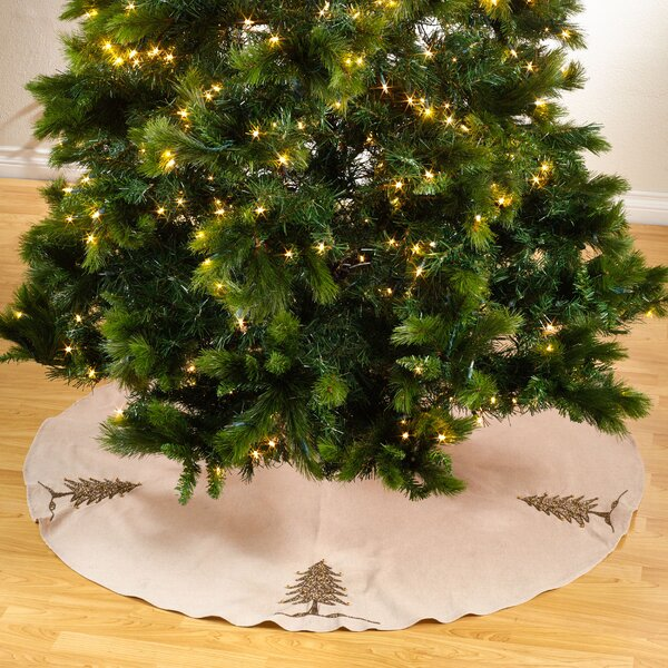Sapin De Noel Round Beaded Christmas Tree Skirt by